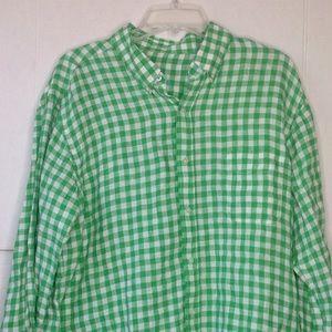 J McLaughlin Green Linen Gingham Men's Shirt